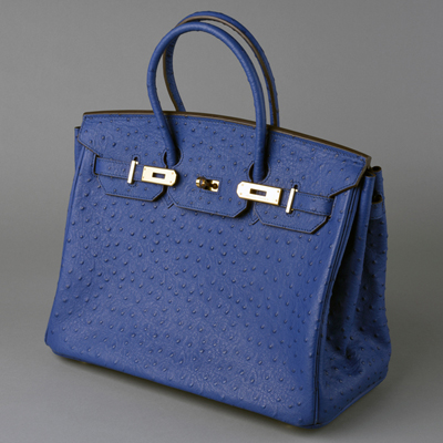 5e18b873601b Counterfeit bag in the style of Hermès Birkin Navy ostrich leather with  gold hardware